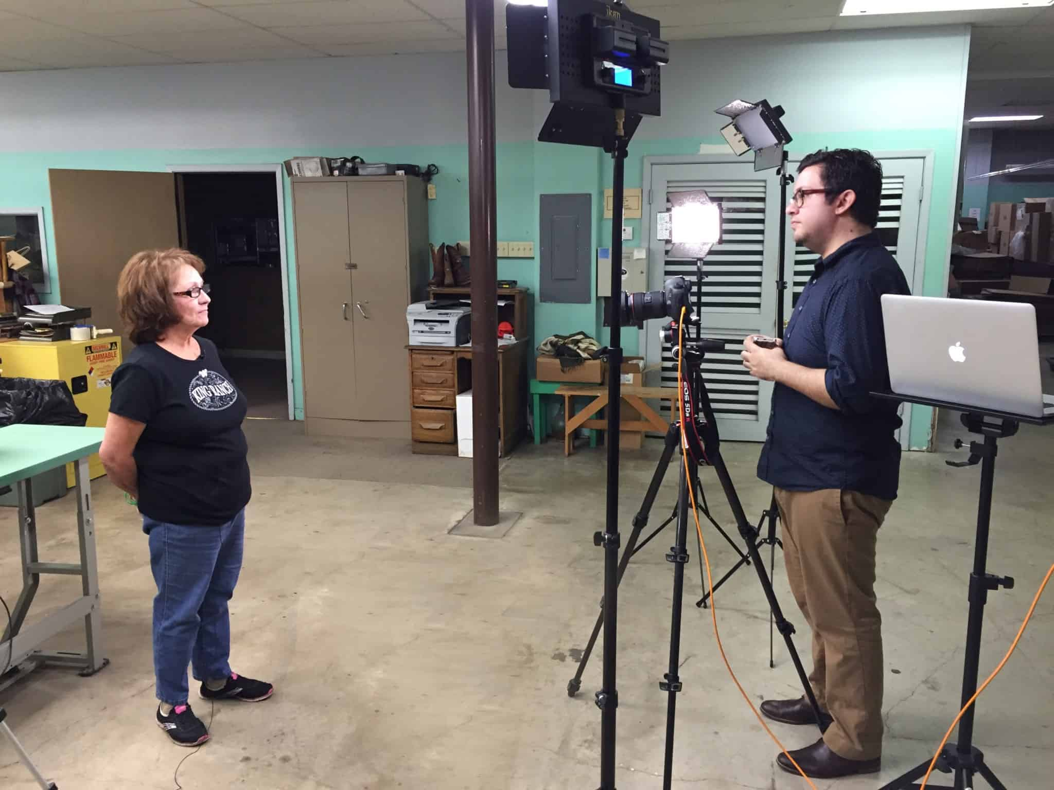 Hi-Res Media Group filming at the King Ranch Saddle Shop