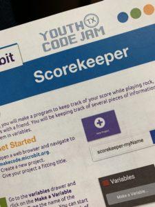 Youth Code Jam Scorekeeper Exercise